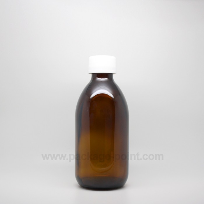 250 ml Syrup Bottle Glass Pharmacy Amber