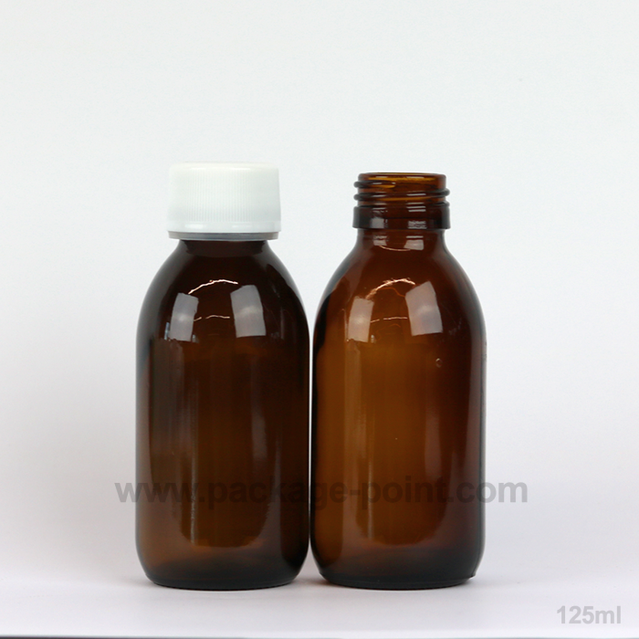 125 ml Syrup Bottle Glass Pharmacy Amber