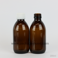 200 ml Syrup Bottle Glass Pharmacy Amber