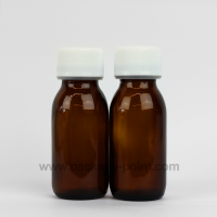 60 ml Syrup Bottle Glass Pharmacy Amber